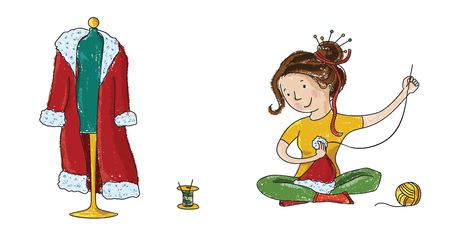 sewer: Seamstress girl sewing Santa Christmas hat and costume isolated on white background, cartoon vector icons Stock Photo