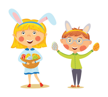 Easter kids in bunny ears with basket full of eggs Illustration
