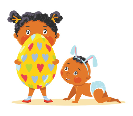 Easter kids in bunny ears with decorative egg. Stock Illustratie