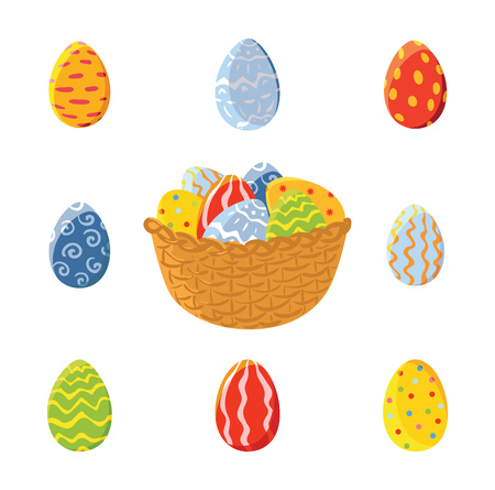 Basket and set of easter eggs, vector