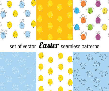 Set of Easter seamless vector patterns.