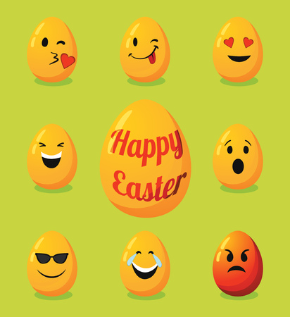 Decorative eggs for Happy Easter with emoticon faces
