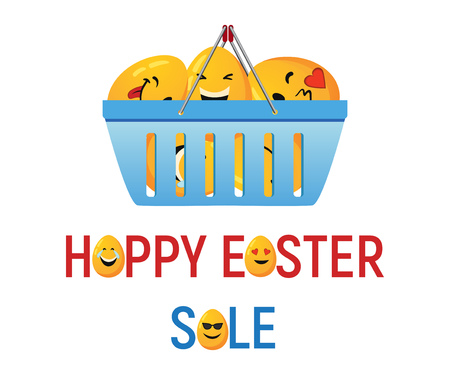 Happy Easter Sale banner, Basket full of decorative eggs with smiley faces
