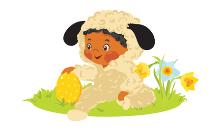 Baby african boy in lamb costume with decorative egg with flowers