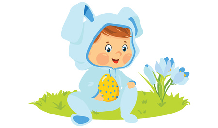 Baby boy in bunny costume with decorative egg.