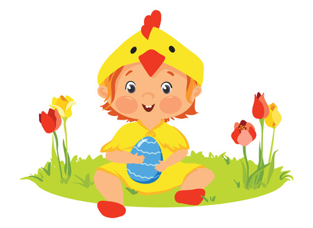 Baby in chick costume with decorative egg. Stock Illustratie
