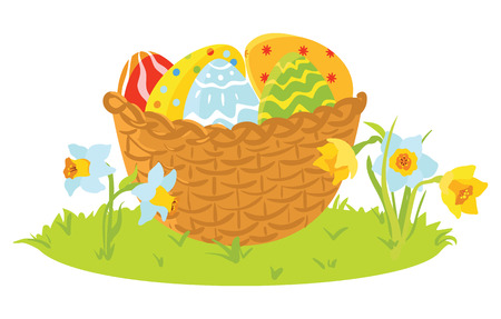 Easter decorative eggs in a basket with flowers illustration. Stock Illustratie