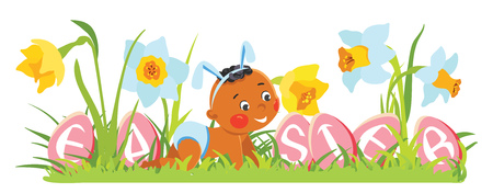 Baby boy in bunny ears with decorative eggs illustration.