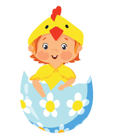 Baby in chick costume in a decorative easter egg Illustration