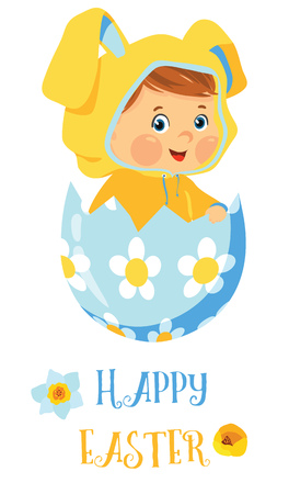 Happy Easter card with baby in egg Stock Illustratie