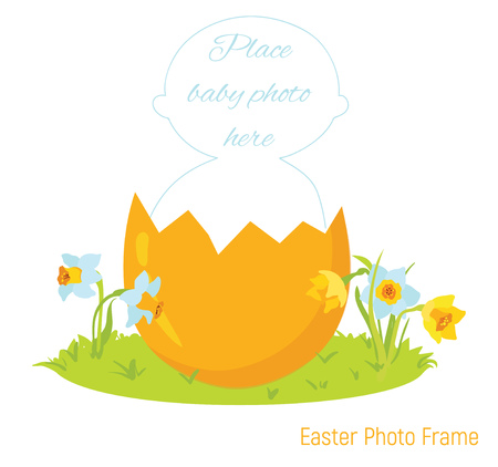 Easter baby photo frame Stock Illustratie