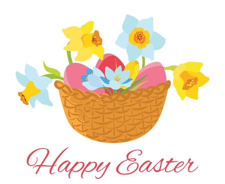 Happy Easter card, basket with flowers and eggs