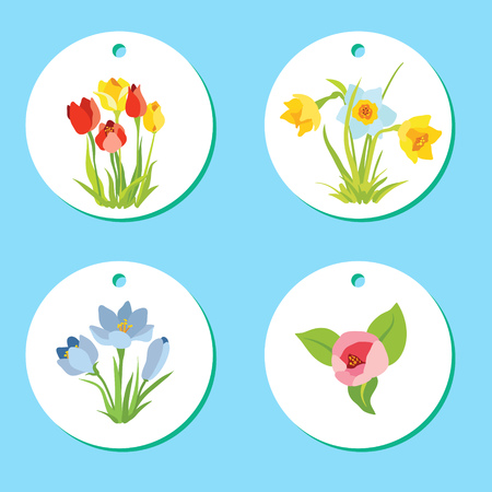 Set of labels with spring April flowers for Easter