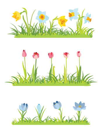 Set of spring april flowery borders for Easter Stock Illustratie