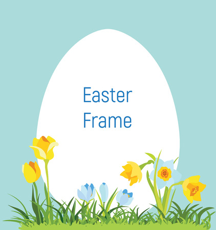 Spring april flowery frame for Easter