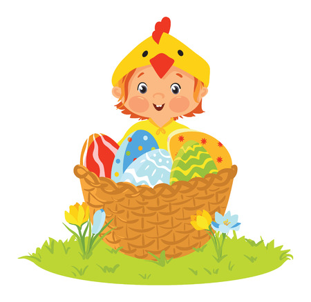 Baby wearing chick costume in a basket with eggs