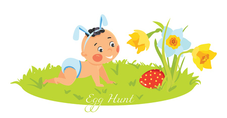 Baby boy in bunny ears hunting for eggs. Illustration