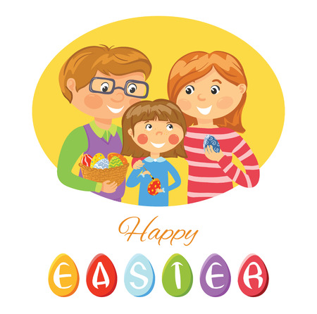 Happy Easter card with family decorating eggs Stock Illustratie
