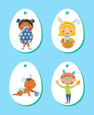 Set of Easter tags, labels with children with eggs