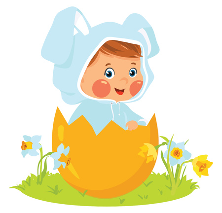 Baby boy wearing easter bunny costume in egg Illustration