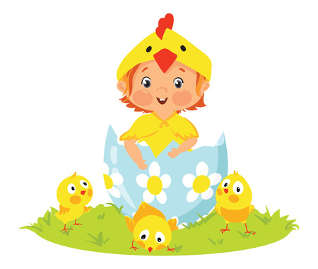 Baby wearing costume in Easter egg with chicks illustration.