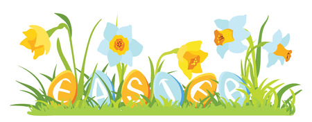 Grass and flowers with decorative eggs Stock Illustratie
