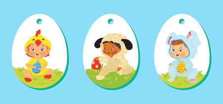 Set of easter price tags, gift labels for kids Illustration