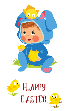Happy Easter card with baby bunny and chicks Illustration