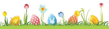 Easter eggs, vector isolated on plain background. Stock Illustratie