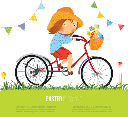 Girl on bike with basket full of eggs for Easter