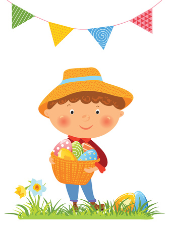 Boy with basket full of eggs, set of decorative eggs, Easter illustration