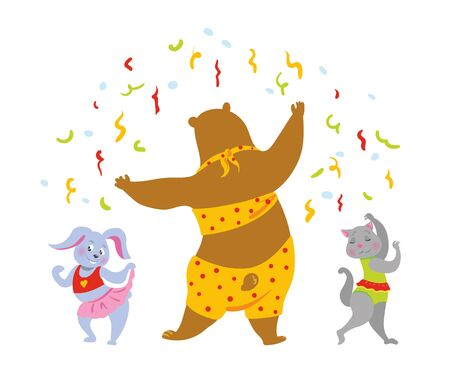Party dancing animals vector
