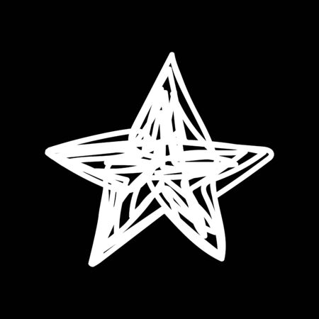 White Christmas star drawn by messy line on a black background. Laconic symbol of the New Year. Tangled New Year festive star. Christmas art line Festive decoration element - vector stock illustration