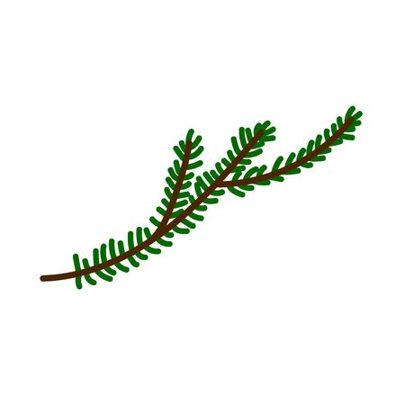 Christmas tree branch isolated on a white background. Cute decorative green twig in Scandinavian style. Festive decoration element for Christmas and New Year. Minimalistic symbol of the winter holiday