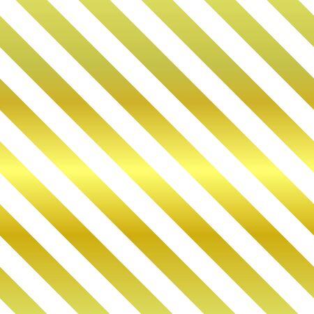 Motif étincelant vectorielle continue. Rayures dorées et blanches répétitives en diagonale. Illustration classique de vacances pour affiches, arrière-plans, fonds d'écran, papier d'emballage, textile. Tableau métal géométrique tendance Vecteurs