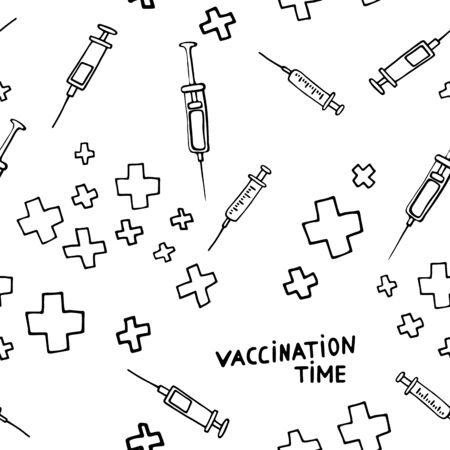 Time for Vaccination! Seamless medical pattern. Vaccination of influenza and other illness, disease prevention,health care. Vector picture with pharmaceutical hand-drawn elements on a white background