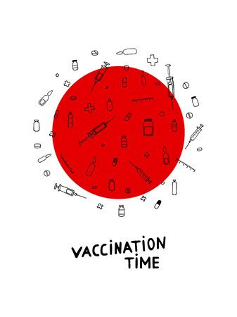 Time for Vaccination! Vector illustration with Outline black pharmaceutical hand-drawn elements on a white background with a red circle. Poster with medicines, syringes, crosses, pills, vaccines Ilustração