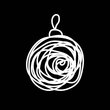 White Christmas ball drawn by messy lines on a black background. Laconic symbol of the New Year. Festive decoration element