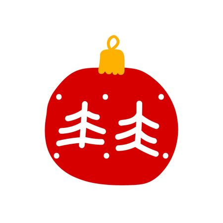 Christmas ball Isolated on a white background. Red decoration with Christmas trees and snow. Vector New Year illustration. Cute winter holidays symbol hand-drawn in a minimalistic Scandinavian style 일러스트