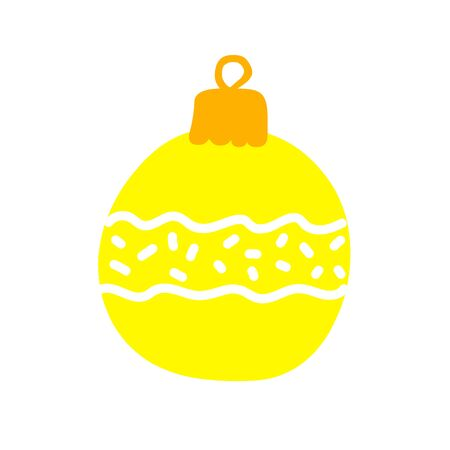 Christmas ball Isolated on a white background. Yellow decoration with waves and snow. Vector festive New Year illustration. Cute winter holidays symbol hand-drawn in a minimalistic Scandinavian style 일러스트