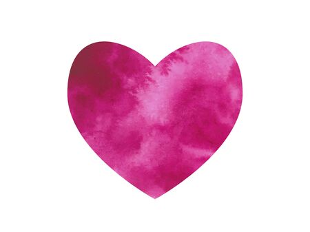 Holiday card for Valentine's Day, March 8, weddings, posters. Pink watercolor stain in the shape of a heart on a white background. Blurry paints. Watercolor splash on white paper. Vector illustration Vetores