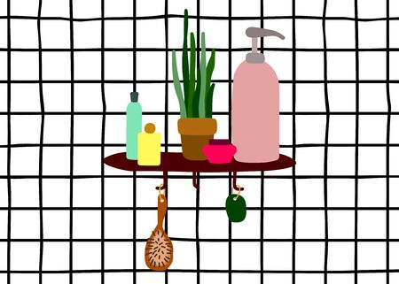 Vector interior Scandinavian illustration. Shelf with cosmetics on the wall with white tiles in the bathroom. Hygge minimalistic picture with home plants, hygiene and makeup products, shampoos, creams