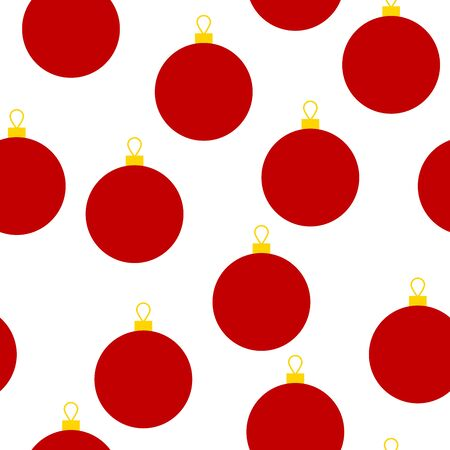 Christmas seamless pattern. Red New Year festive decoration isolated on a white background. Red and yellow balls. Holiday vector illustration for wallpapers, posters, wrapping paper, posters, cards