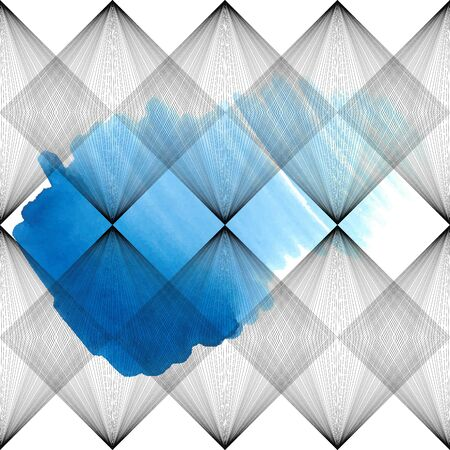 Abstract vector seamless pattern. Parallel lines and squares on white background with watercolor blue stain. Visual effect. Stock illustration for wallpaper, wrapping paper, decoration, posters, cards Illustration