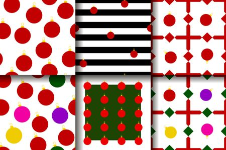 Set of Christmas vector seamless patterns. 6 holiday ornaments for wallpaper, poster, wrapping paper. Collection of New Year illustrations with multi-colored Christmas balls, red, white, black stripes