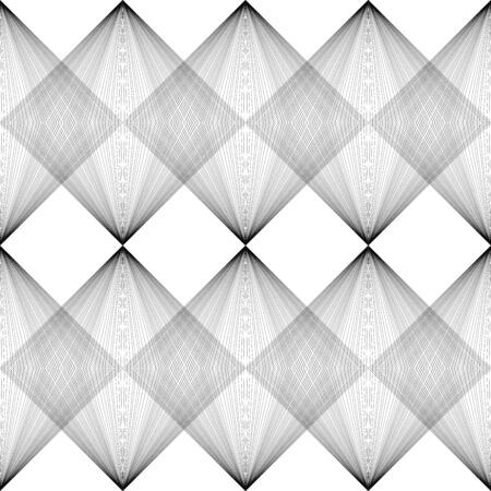 Abstract vector seamless pattern. Parallel lines and squares isolated on white background. Visual effect. Stock illustration for wallpaper, wrapping paper, paper, decoration, posters, textiles, cards