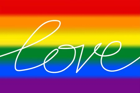 Blurred LGBT Pride Flag with Line art lettering Love. Rainbow symbol of lesbian, gay, bisexual and transgender LGBT people. Vector illustration of a sign of love, tolerance and equality. One line text