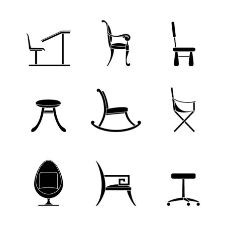 Chairs glyph icons Set . Different options for chairs and armchairs. Black outline of interior items isolated on a white background. Line Computer, children, camping, school, rocking, egg chair, stool Illustration