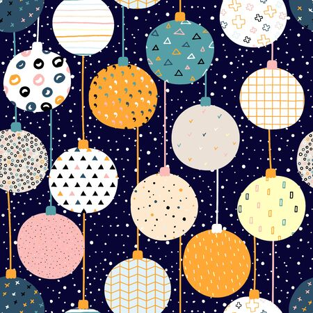 New Year vector color seamless pattern. Christmas balls with Scandinavian ornaments on a snow background. Bright festive cute stock illustration with decorative elements Snowflakes, dots, stripes Illustration