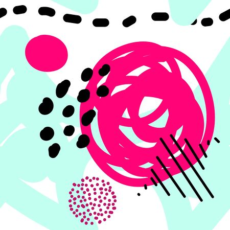 Seamless vector scandinavian pattern. Blue, pink, black balls, stars, dots, spots, stripes on a white background. Bright messy line art. Cute tangled illustration for baby design, packaging, wallpaper